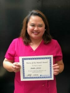 nurse of the month for april, hazel j