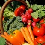 picture of vegetables included in vegan diet - carrots, bell peppers, broccoli, tomatoes and more