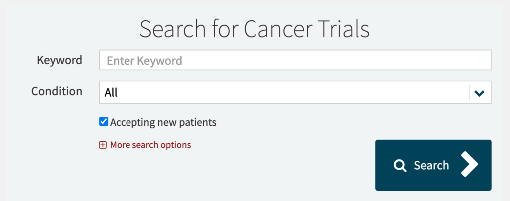 search for cancer trial by keyword