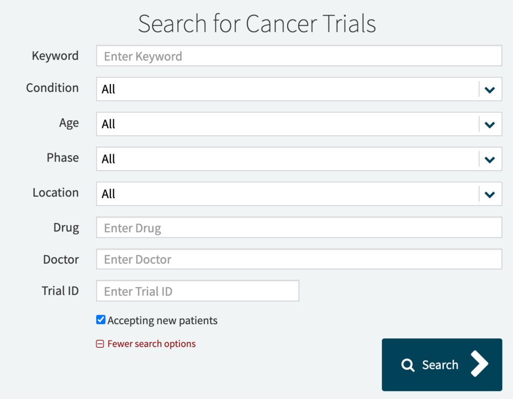narrow search for cancer trial