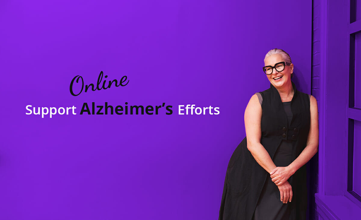 support alzheimers efforts online during the pandemic woman leaning on wall in purple background