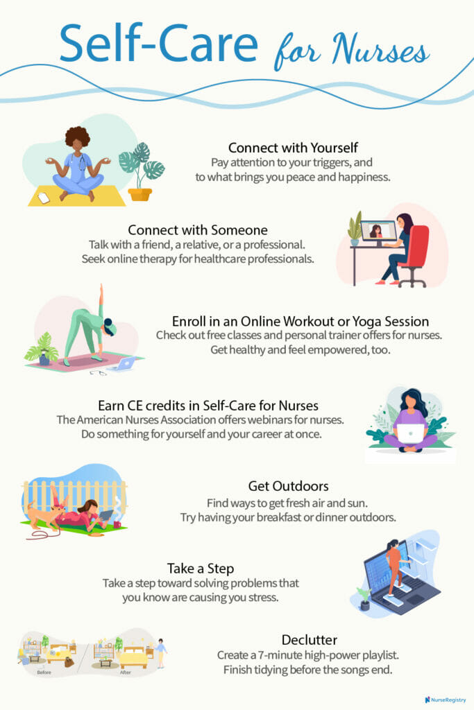 7 self-care tips for nurses infographic