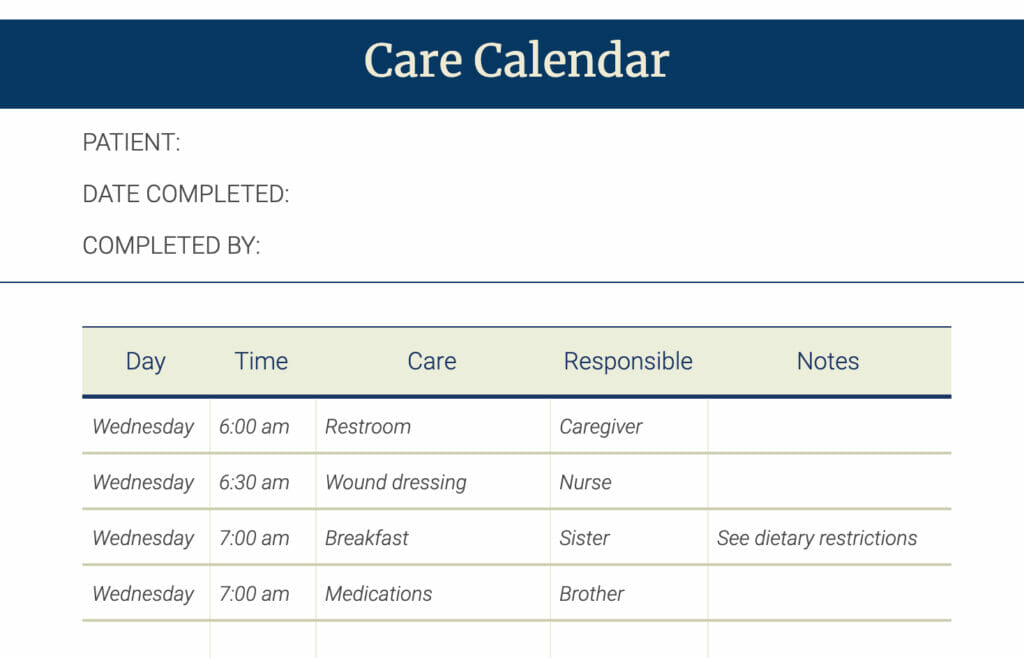 Care Calendar Sample Planner