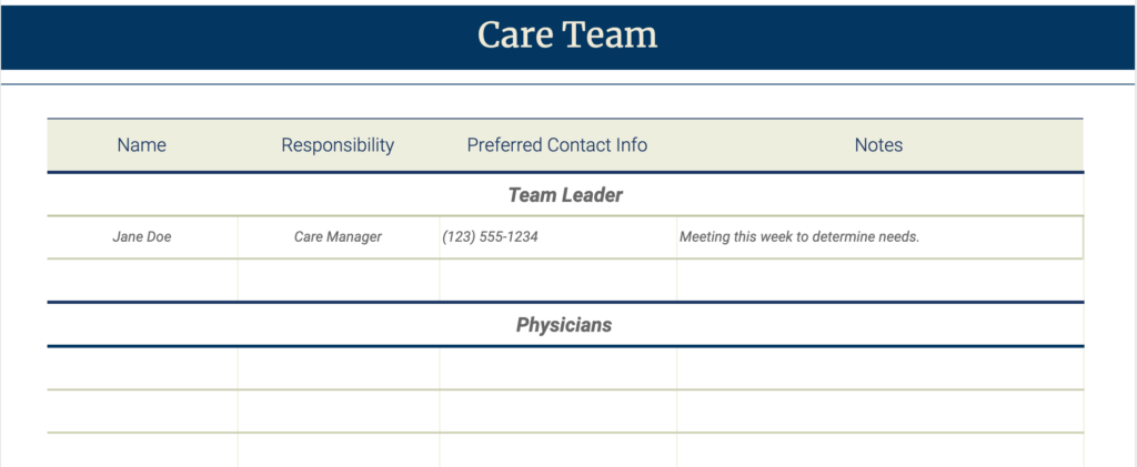 Care Team Organizer Template