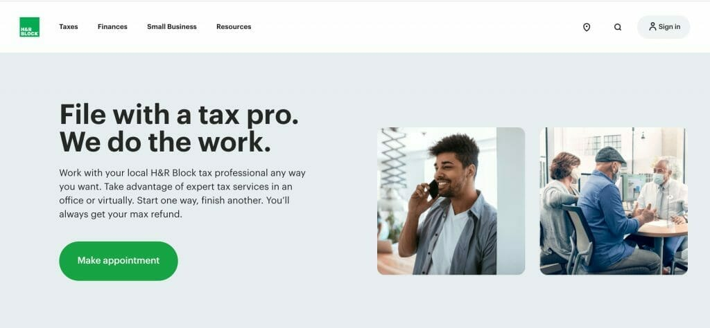 H&R Block tax prep done by a pro webpage