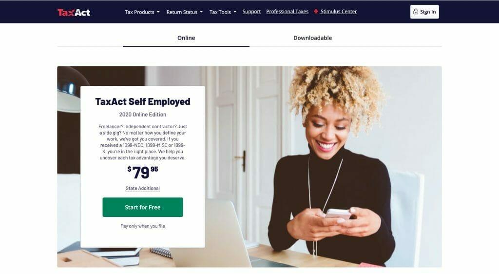 TaxAct self-employed tax prep webpage