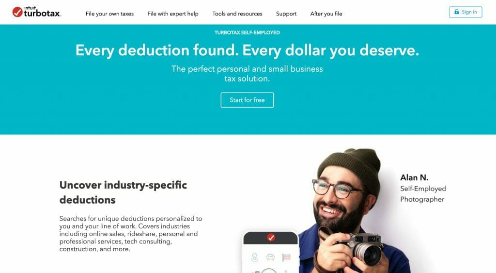turbotax by intuit self-employed webpage