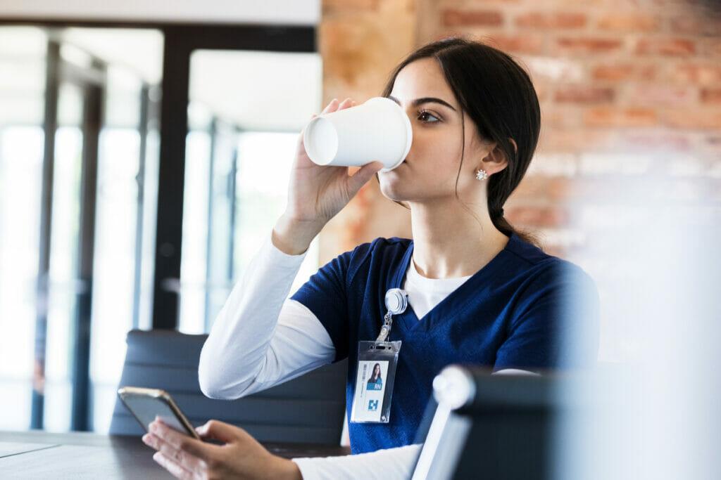 nurse drinking coffee coming off night shift